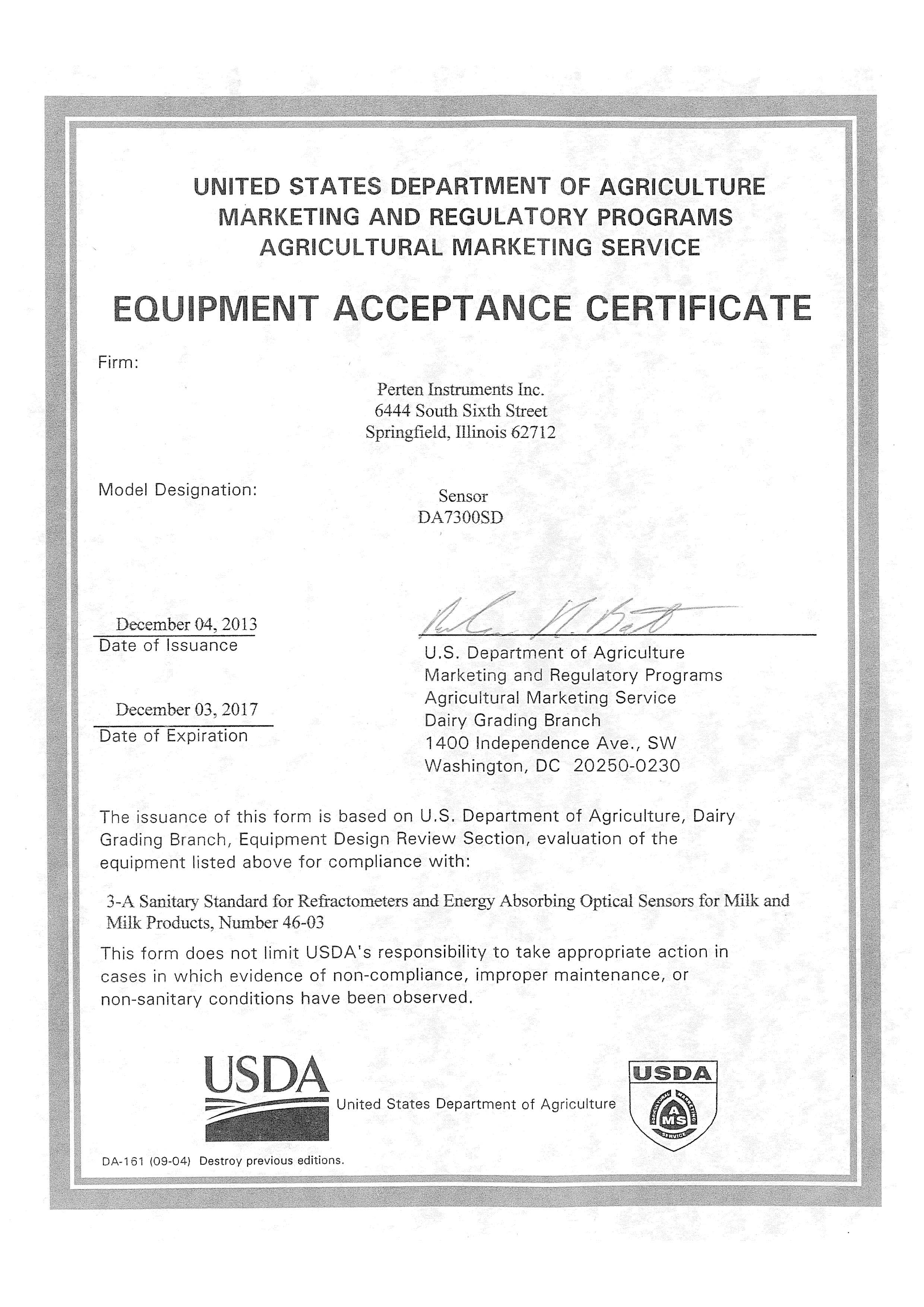 The DA 7300 SD Receives USDA Dairy Letter Of Acceptance