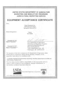 the da 7300 sd receives usda dairy letter of acceptance perten